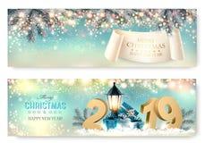 Abstract holiday christmas light banners. stock illustration