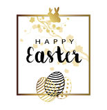 Abstract Holiday Easter Card. With Flowers, Eggs And Bunny vector illustration