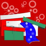 Abstract holiday presents. Bright, colorful illustration of holiday or Christmas presents on a red background Royalty Free Stock Photo