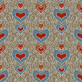 Abstract holiday seamless pattern with hearts 2 Stock Images