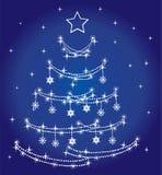Abstract holiday tree. Vector abstract blue holiday tree Royalty Free Stock Photo