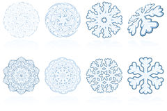 Abstract holiday winter snowflake icon set in blue Stock Photography