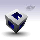 Abstract hollow cube. A hollow cube tilted on a corner reveals a colorful blue interior Stock Image