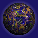 Abstract hollow sphere, chip, microcircuit, silicon chip, microchip. 