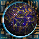 Abstract hollow sphere, chip, microcircuit, silicon chip, microchip Royalty Free Stock Images