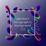 Abstract holografisch neon helder patroon op een gradiëntachtergrond met een tekstkader Stock Fotografie