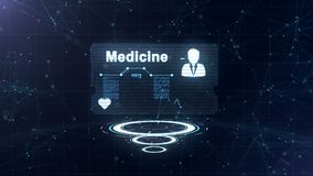 Abstract hologram De geneeskundekaart met hoofd schoot en teken van harttarief, druk en een andere diagrammen Abstract blauw royalty-vrije illustratie