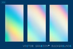 Abstract holographic gradient blurred backgrounds. Abstract soft holographic gradient vector blurred backgrounds. Modern screen design for mobile app vector illustration