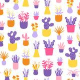 Abstract home plants colorful seamless pattern Stock Photography