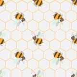 Abstract honey print. seamless pattern with Cute cartoon Bee and honeycomb. 10 eps stock illustration