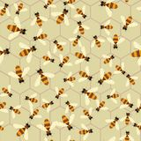 Abstract honey print. Vector seamless pattern with bee and honeycomb. 10 eps royalty free illustration