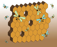 Abstract honeycomb. Abstract colored background with honeycomb and flying bees Stock Photos