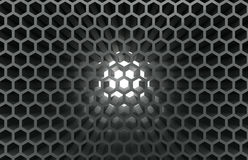 Abstract honeycomb background. 3D rendered illustration of an abstract honeycomb background. In the middle of the honeycomb contains a white light Stock Photography