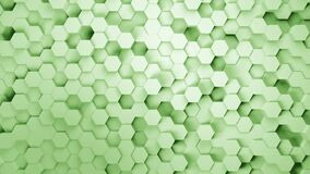 Abstract honeycomb background. Lightweight, minimal, clean, moving hexagonal green mesh wall with shadows. Wide format