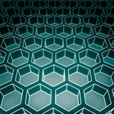 Abstract honeycomb background. Perspective view on honeycomb. Hexagon pattern background. Isometric geometry. 3D rendering Stock Photos