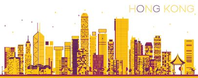 Abstract Hong Kong China Skyline with Color Buildings. Vector Illustration. Business Travel and Tourism Concept with Modern Architecture. Hong Kong Cityscape royalty free illustration