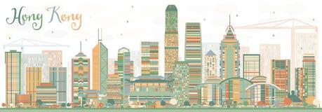 Abstract Hong Kong Skyline met Kleurengebouwen Stock Afbeeldingen