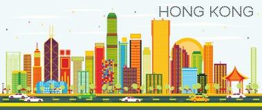 Abstract Hong Kong Skyline met Kleurengebouwen en Blauwe Hemel Royalty-vrije Stock Afbeelding
