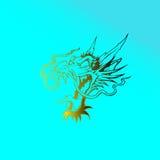 Abstract Hoofd Gouden Dragon Logo Stock Foto's