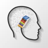 Abstract hoofd met boeken en pictogrammen Infographics Royalty-vrije Stock Afbeelding