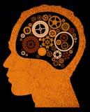 Abstract hoofd met radertjes en toestellen. Royalty-vrije Stock Afbeeldingen