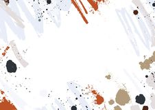 Abstract horizontal backdrop with colorful paint traces, smudges, blots and brush strokes on white background. Creative. Frame or border with artistic smears Royalty Free Stock Photo