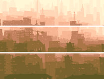 Abstract horizontal banner of big city in sunset. Vector abstract horizontal banner of big city with roofs, windows and skyscrapers in morning mist Royalty Free Stock Images