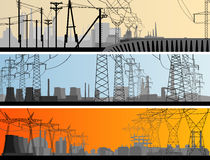 Abstract horizontal banner industrial part of city. Royalty Free Stock Photo