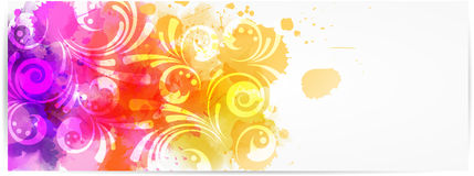 Abstract horizontal banner with modern swirly design Stock Photography