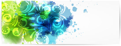 Abstract horizontal banner with modern swirly design Stock Photo