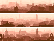 Abstract horizontal banner of town roofs. Vector abstract horizontal banner of big city roofs and windows of buildings in downtown Stock Photo