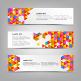 Abstract horizontal banners with colored triangles template Royalty Free Stock Images