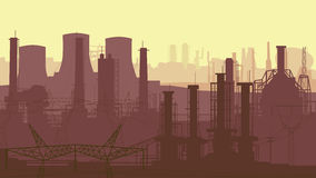 Abstract horizontal illustration industrial part of city. Royalty Free Stock Photos
