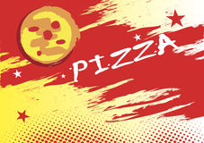 Abstract horizontal pizza banner. Vector illustration Stock Photos