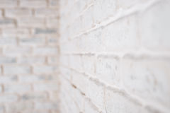 Abstract horizontal white background. The corner of the brick wall. Royalty Free Stock Photos