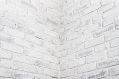 Abstract horizontal white background. The corner of the brick wall. Royalty Free Stock Photo