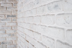 Abstract horizontal white background. The corner of the brick wall. Stock Photo