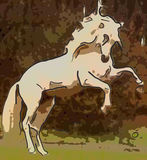 Abstract Horse. A large white abstract horse with earthy colors Stock Photo
