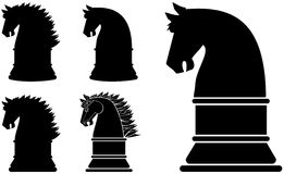 Abstract Horse. Black silhouette horse chess piece or symbol series Royalty Free Stock Photos