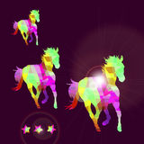 Abstract horse of geometric shapes with stars Royalty Free Stock Images