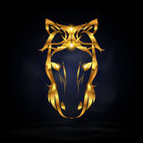 Abstract horse. Abstract gold horse symbol design with dark background Stock Images