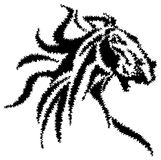 Abstract horse. Head line art black and white drawing image Royalty Free Stock Photography