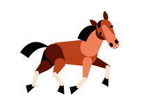 Abstract horse run  on white background. Vector illustra Royalty Free Stock Photo