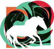 Abstract horses silhouettes. Beautiful wild horse illustration with abstract background Royalty Free Stock Image