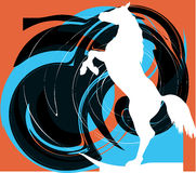 Abstract horses silhouettes. Beautiful wild horse illustration with abstract background Stock Images