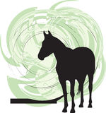 Abstract horses silhouettes. Beautiful wild horse illustration with abstract background Stock Photo