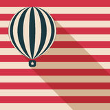 Abstract Hot Air Balloon With Long Shadow And American Flag Card. Abstract Hot Air Balloon With Long Shadow And American Flag Royalty Free Stock Photos