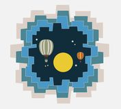Abstract of Hot Air Balloon Over Moon art concept. Art and illustration Stock Photo