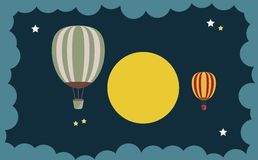 Abstract of Hot Air Balloon Over Moon art concept. Vector art and illustration Stock Photography