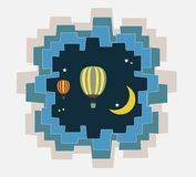 Abstract of Hot Air Balloon Over Moon art concept. Vector art and illustration Stock Images